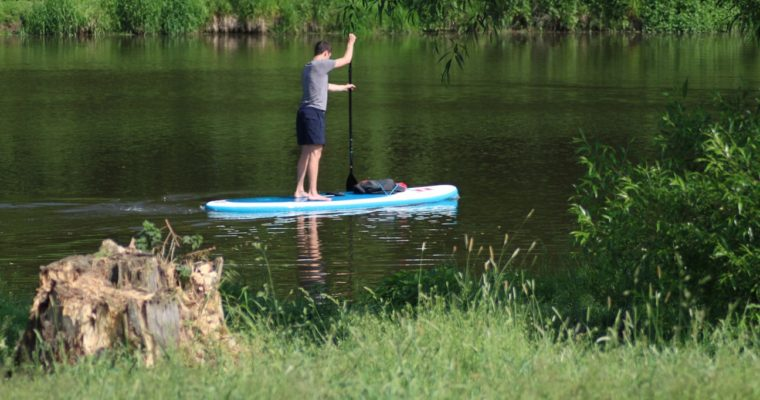 Paddleboarding (SUP) on the River Sazava